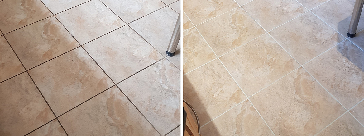 Recolouring Dark Stained Grout Light Grey in a Wickersley Kitchen