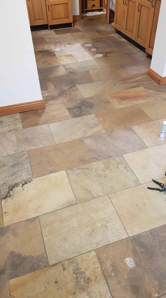 Modern Sandstone Floor Before Cleaning High Green Sheffield