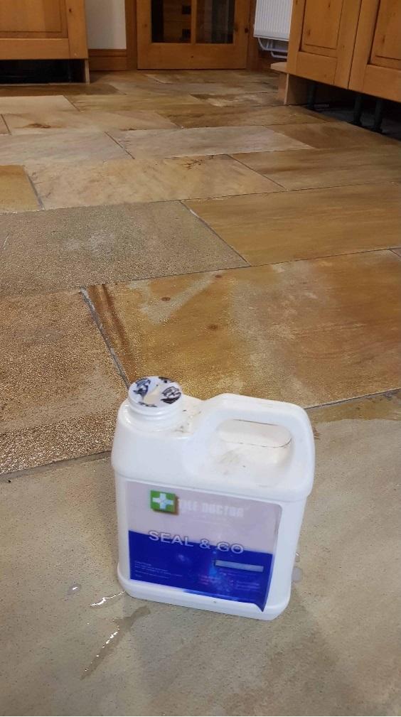 Modern Sandstone Floor During Sealing High Green Sheffield