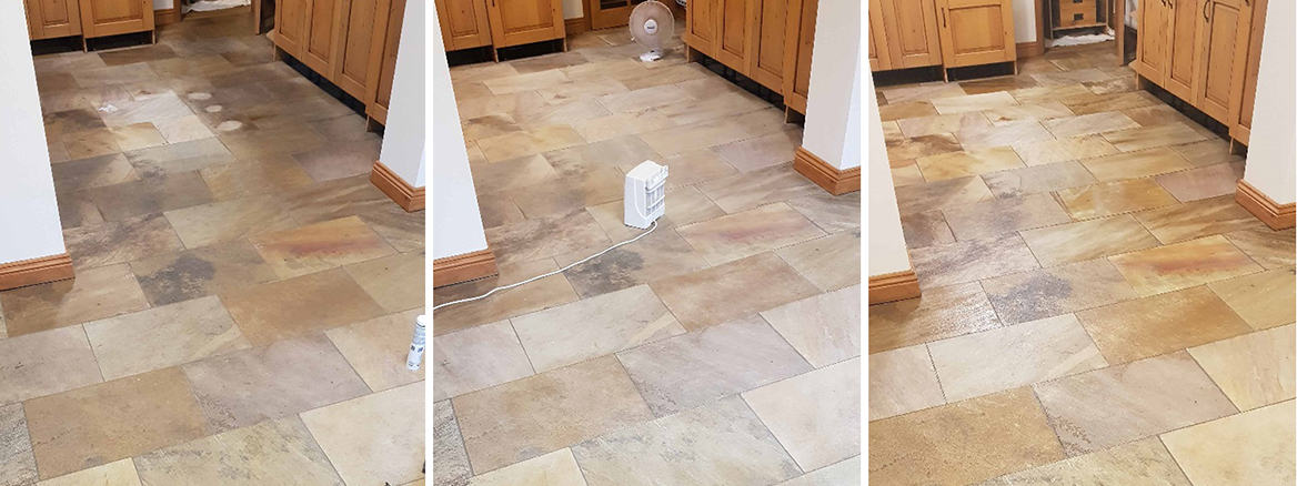 Sandstone Tiled Kitchen Floor Deep Cleaned and Sealed in High Green