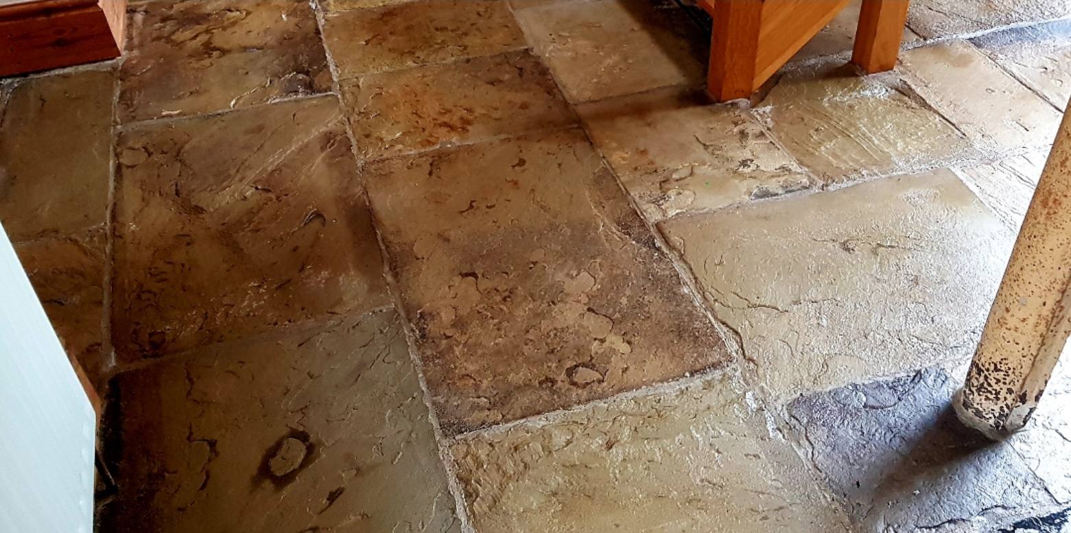 Dirty Yorkstone Floor After Cleaning Sealing in Penistone
