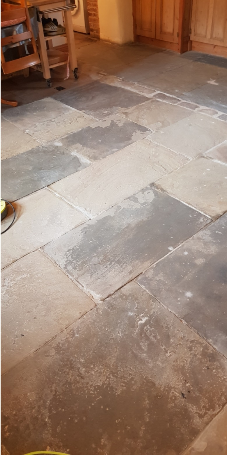 Dirty Yorkstone Floor After Cleaning in Penistone