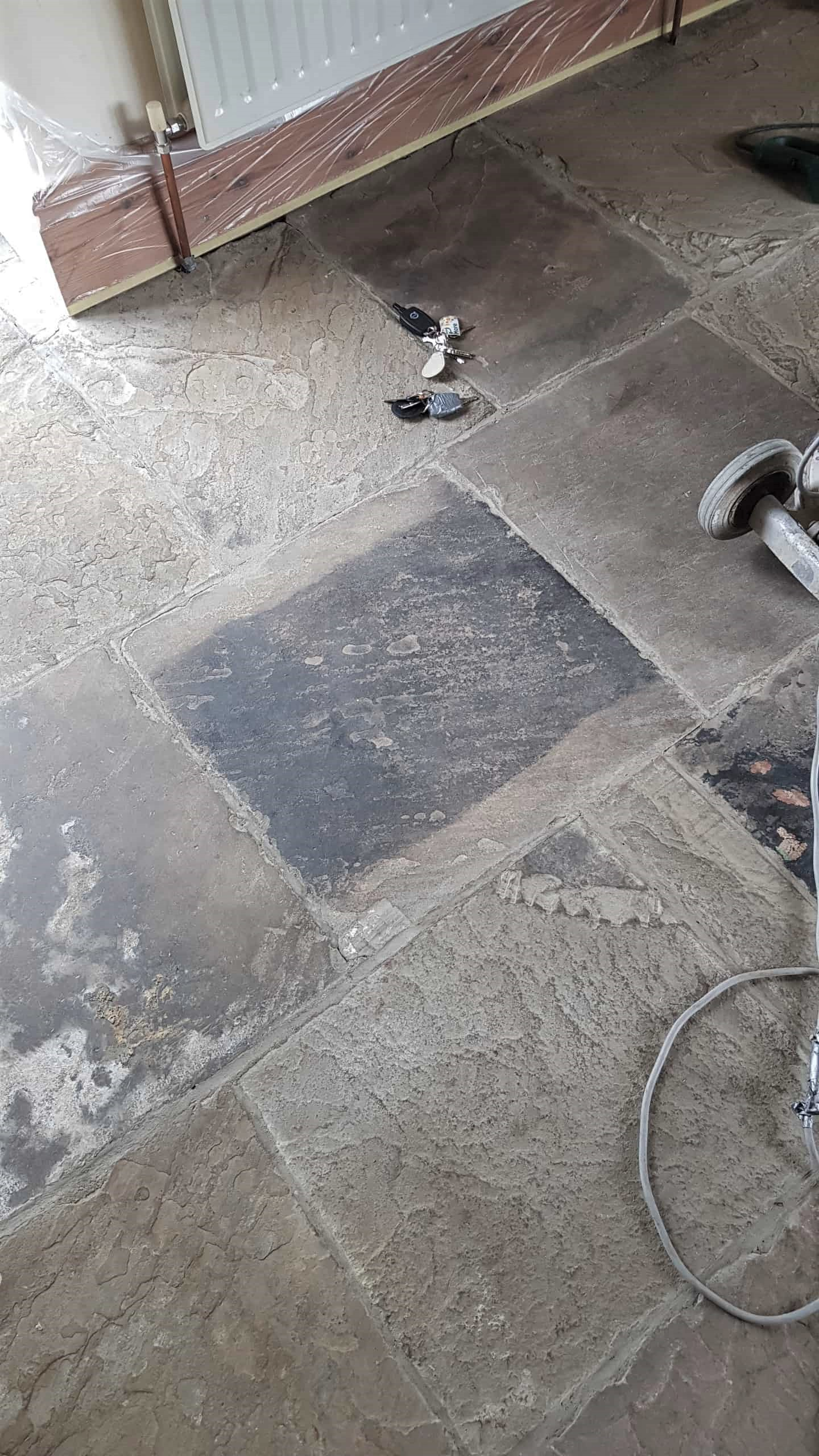 Dirty Yorkstone Floor Before Cleaning in Penistone