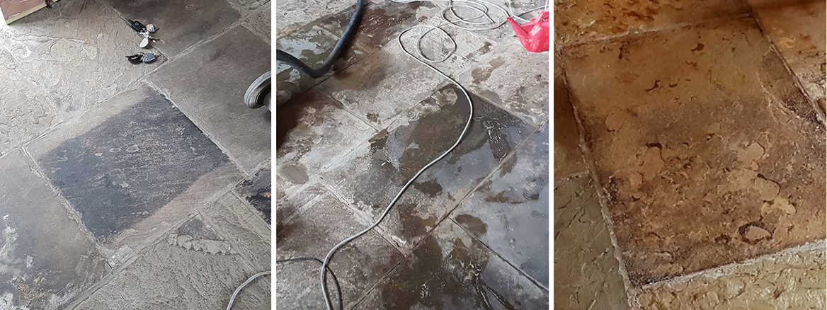 Yorkstone Sandstone Floor Deep Cleaned and Sealed in Penistone